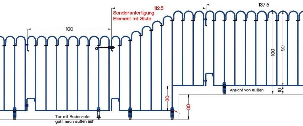 Poolfix-Sonderelemente mit geradem Untergurt zum Überbrücken einer Stufe